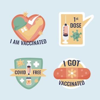 Collezione di badge campagna di vaccinazione disegnata a mano