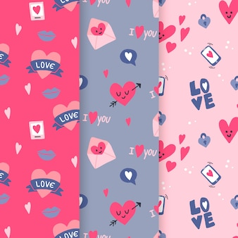 Hand-drawn valentiens day pattern collection