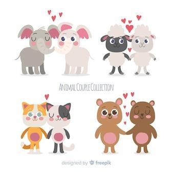 Hand drawn valentine animal couple pack