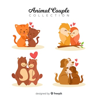 Hand drawn valentine animal couple set