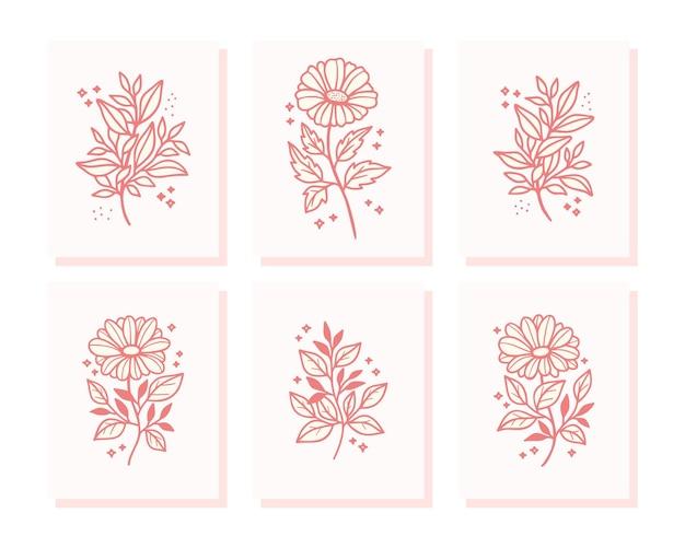 Коллекция рисованной валентинки с элементами цветков и листьев маргаритки