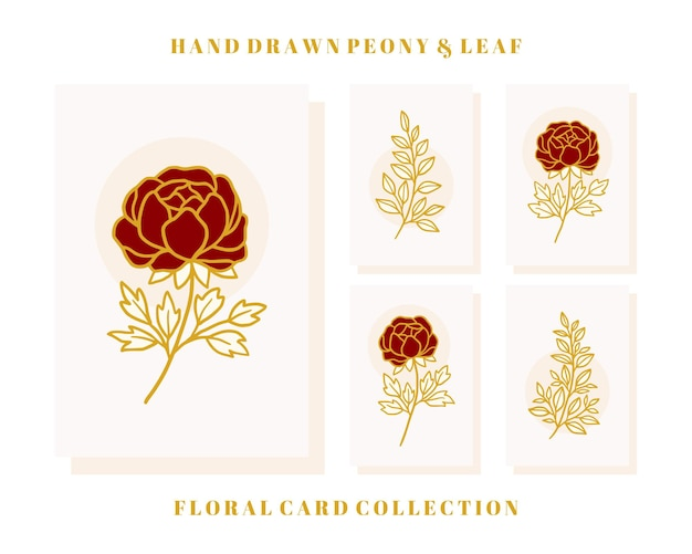 Hand drawn valentine card collection with peony flower and leaf elements
