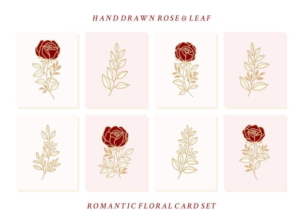 Коллекция рисованной валентинки с элементами розы и листьев