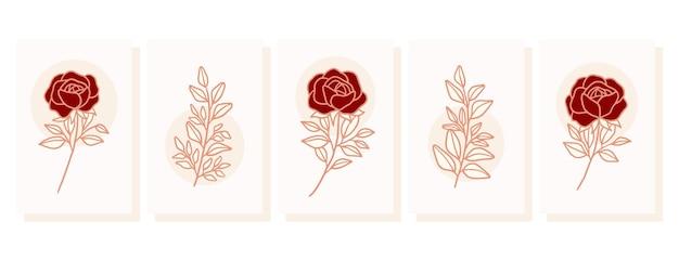 장미 꽃과 잎 요소와 손으로 그린 발렌타인 카드 컬렉션