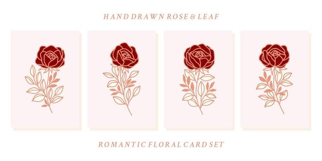 Коллекция рисованной валентинки с элементами цветка розы