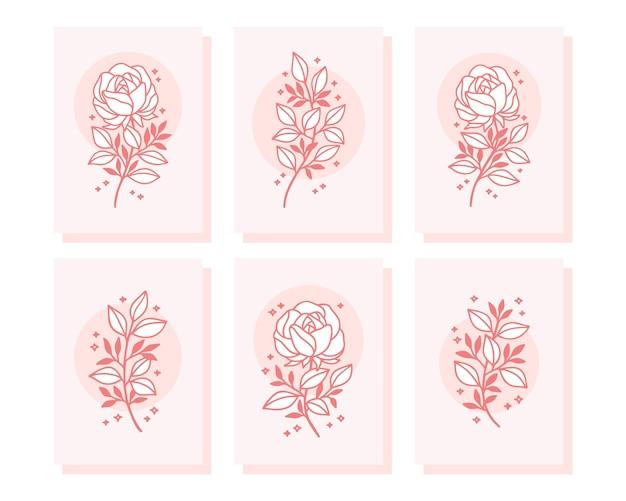 Коллекция рисованной валентинки с элементами розового цветка и листьев