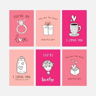 Hand drawn valentine card pack