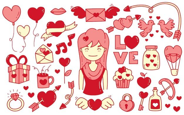 손으로 그린 발렌타인 데이 낙서