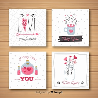 Hand drawn valentine elements card collection