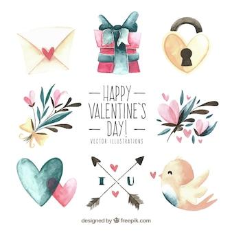 손으로 그린 발렌타인 요소 컬렉션