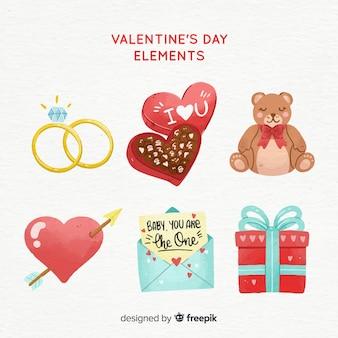 Hand drawn valentine elements collection