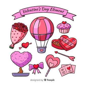 Hand drawn valentine elements collection