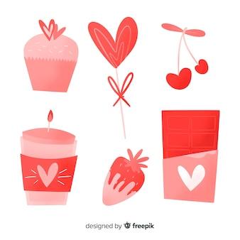 Raccolta di elementi di san valentino disegnati a mano