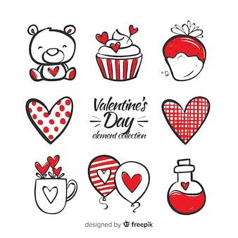 Hand drawn valentine elements pack