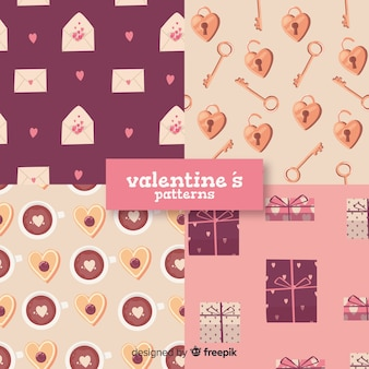 Hand drawn valentine elements pattern collection