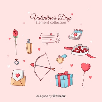 Hand drawn valentine elements set