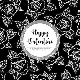 Hand drawn valentine floral background