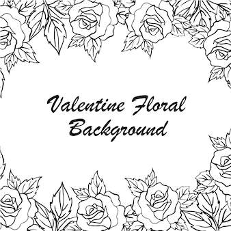 Hand drawn valentine floral background