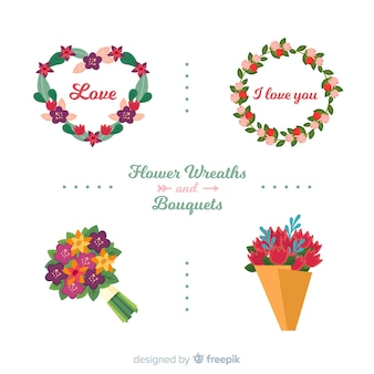 Hand drawn valentine flower pack