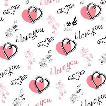 Hand drawn valentine hearts and leafs background