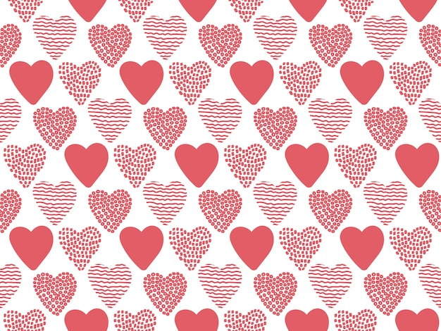 Hand drawn valentine hearts seamless pattern.