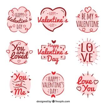 Hand drawn valentine label pack