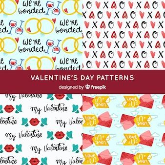 Hand drawn valentine pattern collection