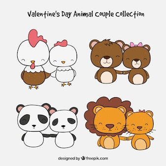 Hand drawn valentine's day animal couple collection