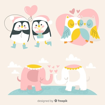 Hand drawn valentine's day animal couple pack