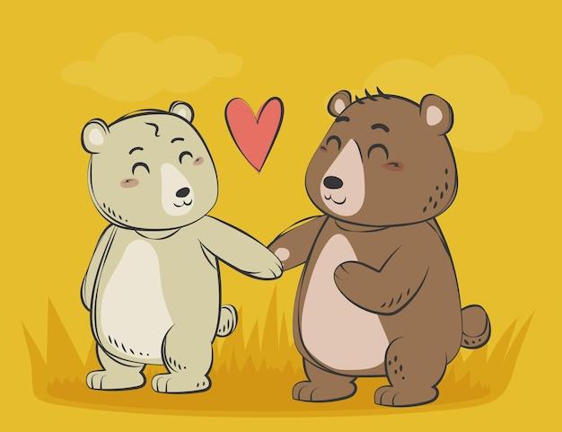 Hand drawn valentine's day animal couple