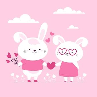 Нарисованная рукой пара животных дня святого валентина