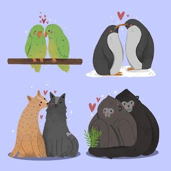 Coppia di animali di san valentino disegnati a mano