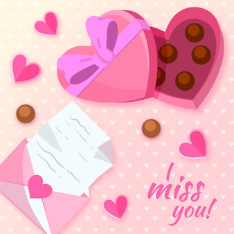 Ручной обращается день святого валентина фон и коробка шоколада