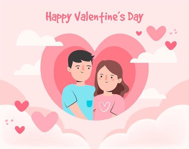 손으로 그린 부부와 마음 발렌타인 배경