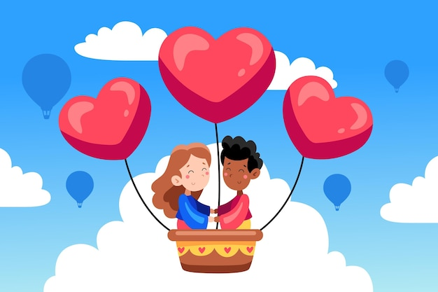 Hand drawn valentine's day background with couple in hot air balloon