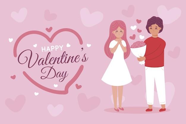 손으로 그린 부부와 함께 발렌타인 배경