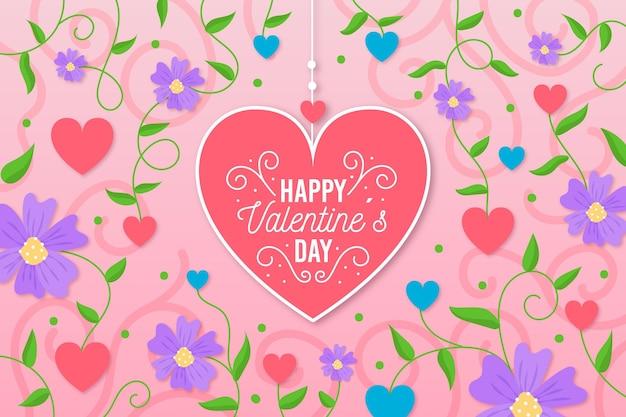 손으로 그린 꽃과 하트 발렌타인 배경