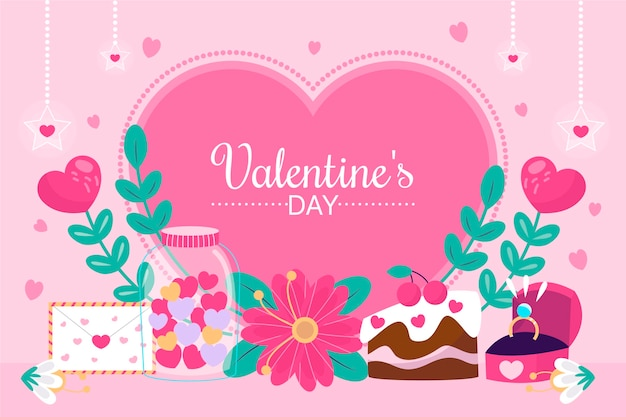 Hand drawn valentine's day background with flowers and cake