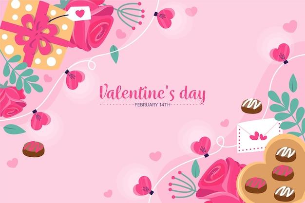 ギフトやお菓子と手描きのバレンタインデーの背景