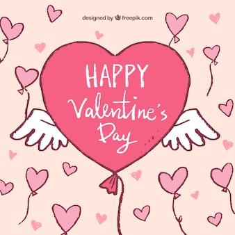 心の形の風船で手描きのバレンタインデーの背景