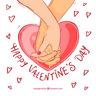Hand drawn valentine's day background with intertwined hands