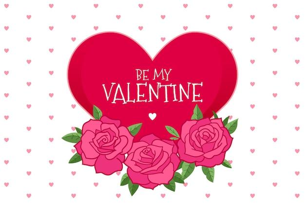 손으로 그린 장미와 하트 발렌타인 배경