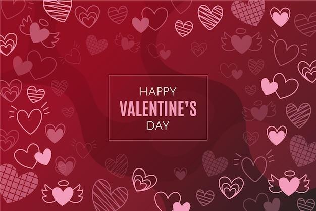 손으로 그린 발렌타인 배경
