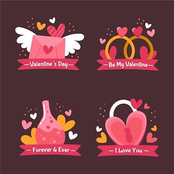 Hand drawn valentine's day badge collection