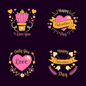 Hand drawn valentine's day badges with ribbons