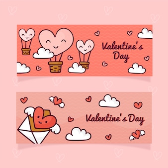 Hand drawn valentine's day banner and hearts with hot balloons
