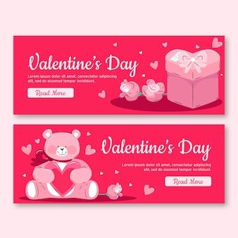 Pacchetto di banner di san valentino disegnati a mano