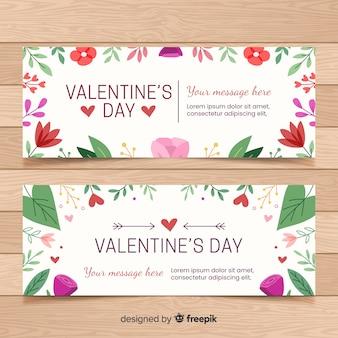 Hand drawn valentine's day banners