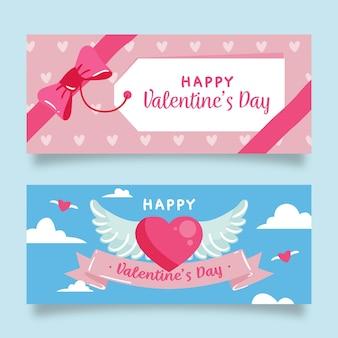 Hand-drawn valentine's day banners