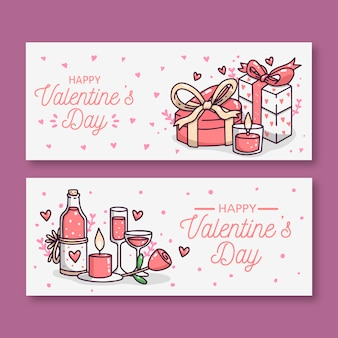 Hand drawn valentine's day banners
